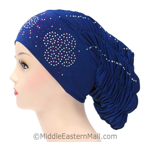 Royal Snood Lycra Hijab Cap Royal Blue Quad Design