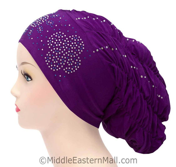 Royal Snood Lycra Hijab Cap Purple Quad Design