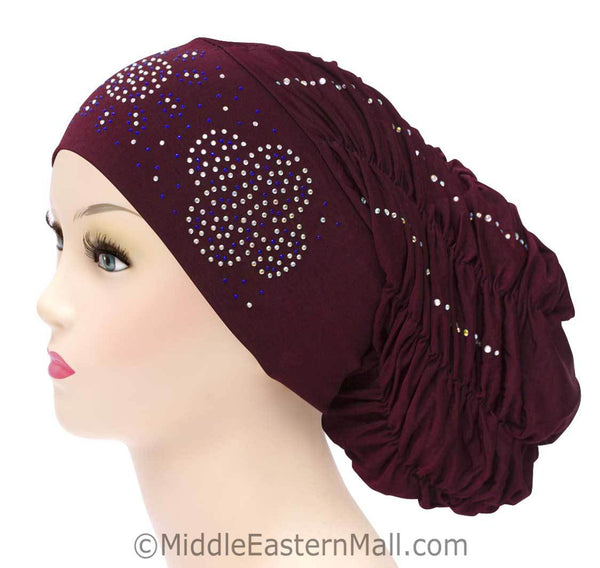Royal Snood Lycra Hijab Cap Maroon Quad Design