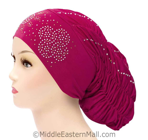Royal Snood Lycra Hijab Cap Magenta Quad Design