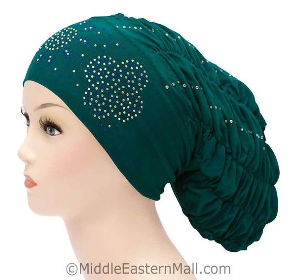 Royal Snood Lycra Hijab Cap Teal Green Quad Design
