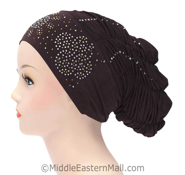 Royal Snood Lycra Hijab Cap Brown Quad Design