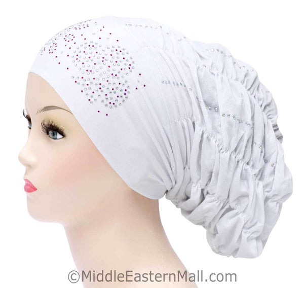 Royal Snood Lycra Hijab Cap White Quad Design