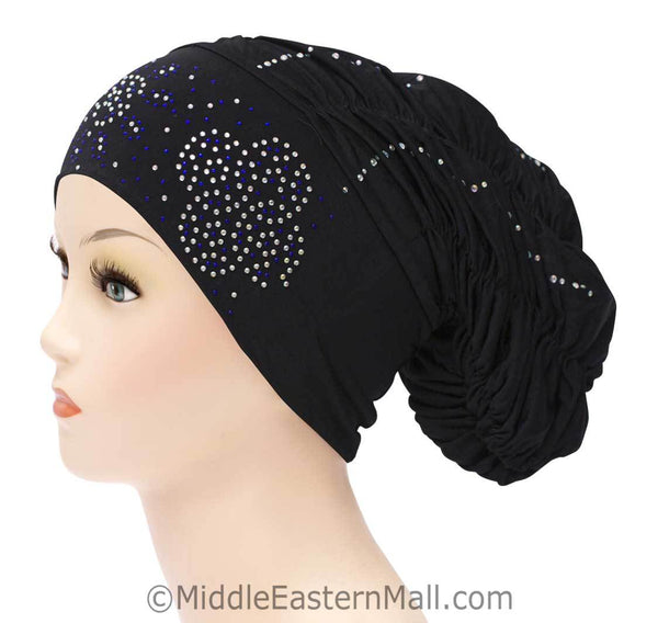 Royal Snood Lycra Hijab Cap Black Quad Design