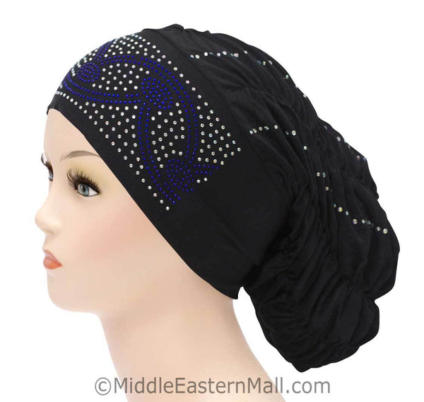 Royal Snood Lycra Hijab Cap Black Arch Design