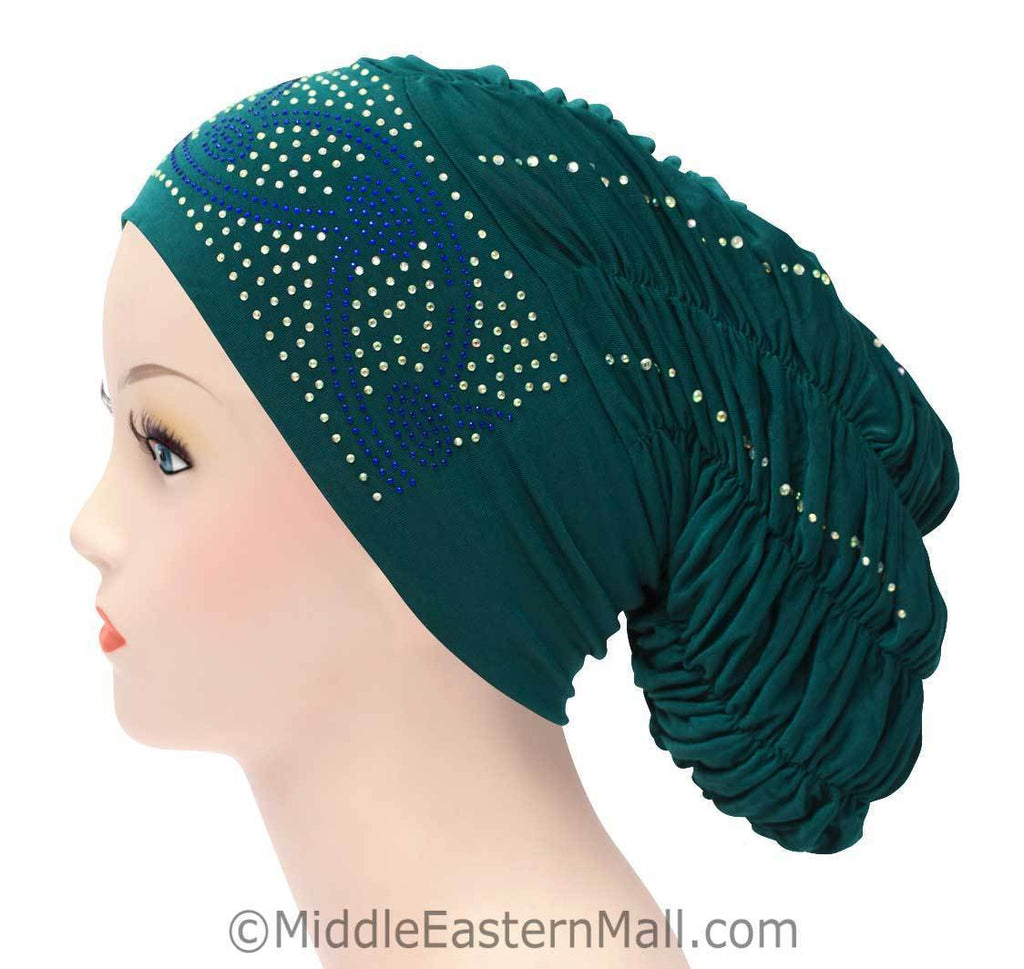 Royal Snood Lycra Hijab Cap Teal Green Arch Design