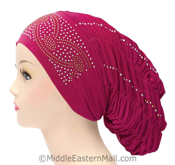 Royal Snood Lycra Hijab Cap Magenta Arch Design