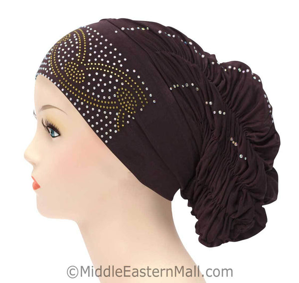 Royal Snood Lycra Hijab Cap Brown Arch Design