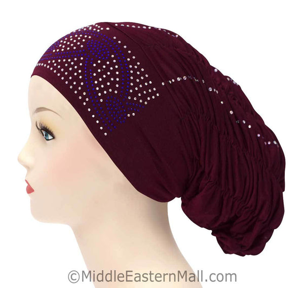 Royal Snood Lycra Hijab Cap Maroon Arch Design