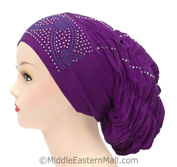 Royal Snood Lycra Hijab Cap Purple Arch Design