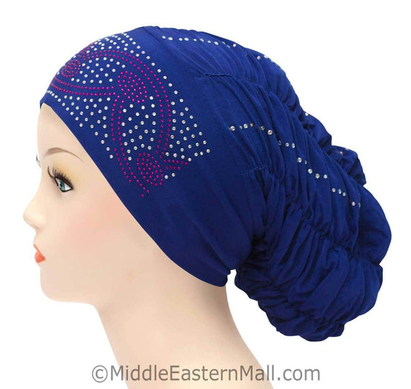 Royal Snood Lycra Hijab Cap Royal Blue Arch Design