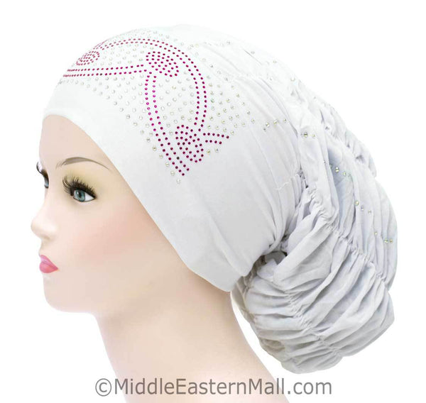 Royal Snood Lycra Hijab Cap Whie Arch Design