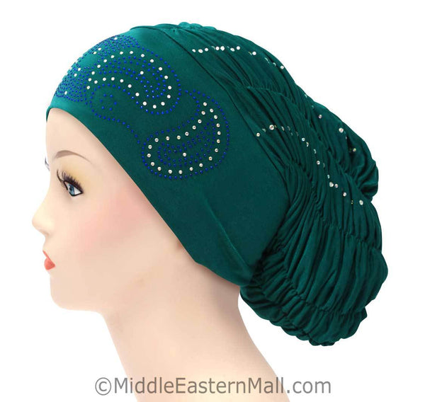 Royal Snood Lycra Hijab Cap Teal Green Paisley Design