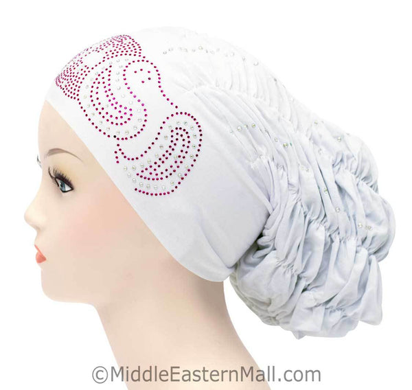 Royal Snood Lycra Hijab Cap Whie Paisley Design