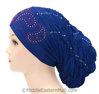 Royal Snood Lycra Hijab Cap Royal Blue Paisley Design