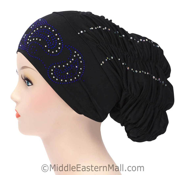 Royal Snood Lycra Hijab Cap Black Paisley Design