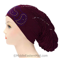 Royal Snood Lycra Hijab Cap Maroon Paisley Design
