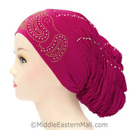 Royal Snood Lycra Hijab Cap Magenta Paisley Design