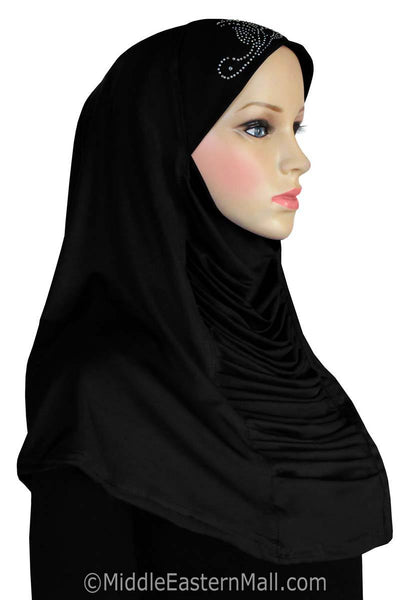 Ruched Cascade Hijab with RHINESTONES 1 piece Lycra Amira Available in 10 Colors