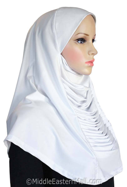 Ruched Cascade Hijab 1 piece Lycra Amira Available in 10 Colors