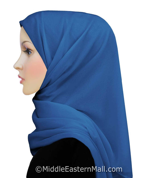 Salma Chiffon Square Scarf in #10 Royal Blue