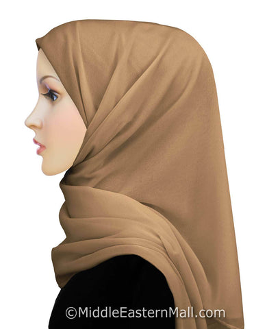 Salma Chiffon Square Scarf in #11 Golden Tan