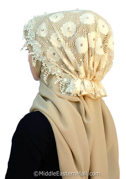 Salma Lace Hijab Set back view