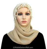 Salma Large Hijab Lace Cap front view
