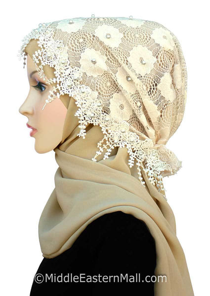 Side view Salma Large Hijab Lace Cap