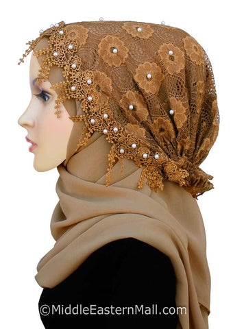 Salma Hijab Set Lace Cap and Chiffon Scarf #11 in Tan