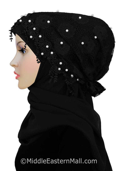 Salma Hijab Set Lace Cap and Chiffon Scarf #12 in Black