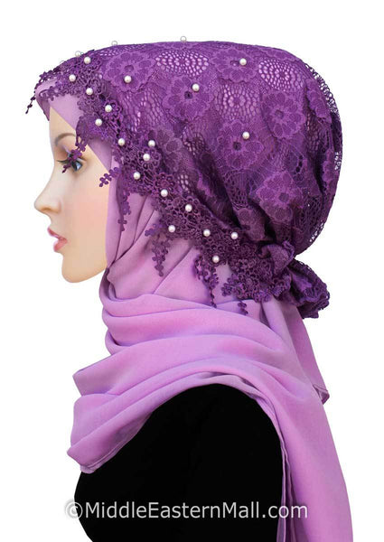 Purple Salma Hijab Lace Cap & Chiffon Scarf 2 Piece Set