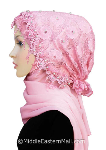 Salma Lace Hijab Set #5 in Pink