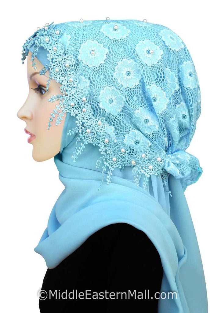 Salma Lace Hijab Set #6 in Sky Blue