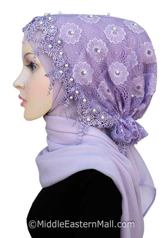 Salma Hijab Set Lace Cap and Chiffon Scarf #8 in Lilac