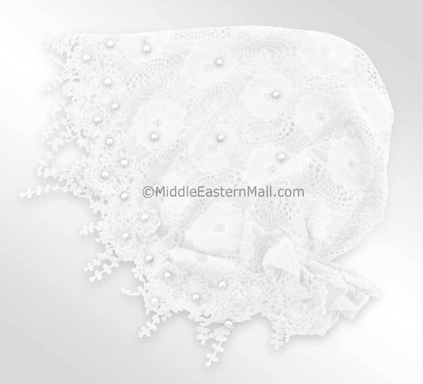 White Salma Large Hijab Lace Cap