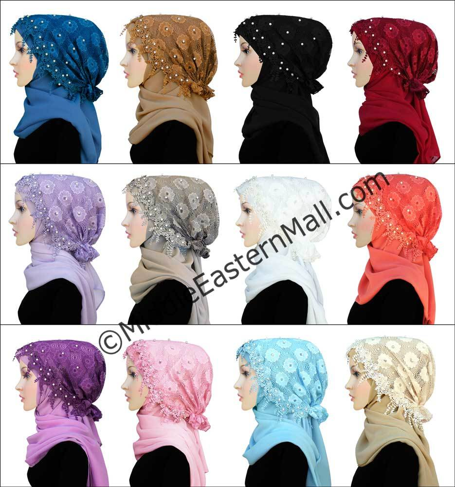 Wholesale 1 Dozen 2 pc set Salma Hijab Lace Cap & Chiffon Scarf  12 Colors
