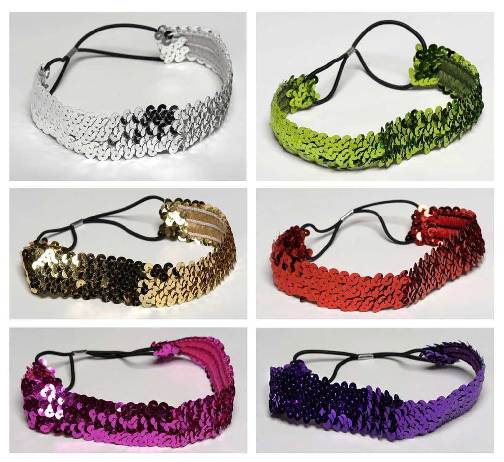 Buy One Get One FREE Wholesale Set of 6 Sequin Headbands in 6 different colors