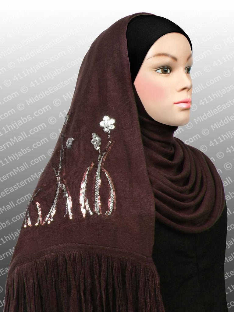 Knit Shawl w/Sequins #4 Brown - MiddleEasternMall