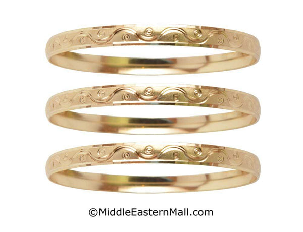 Bangle Bracelets Set of 3 Oro Laminado Gold Plated one year warranty #7 (7153)
