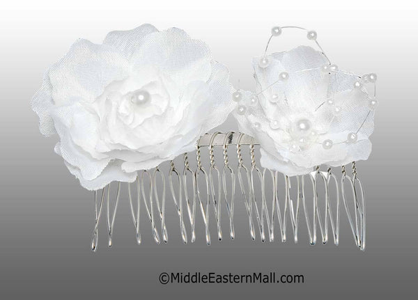 White Double Flower Hair Comb with Pearl Beads - MiddleEasternMall