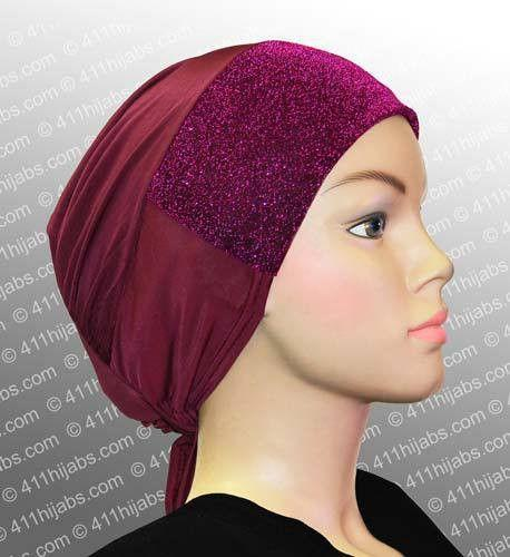 Sparkle Hijab Caps with Ties # 1 Maroon & Fuchsia - MiddleEasternMall