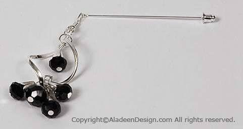 Spiral Hijab Pin # 10 in Black - MiddleEasternMall