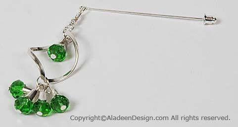 Spiral Hijab Pin #13 in Green - MiddleEasternMall