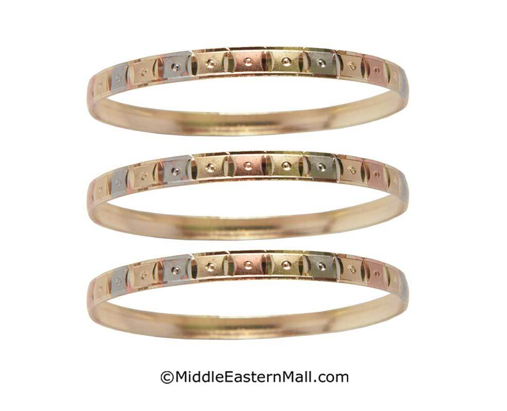 Tri-Color Bangle Bracelets Oro Laminado Set of 3 Gold Plated one year warranty #8 (7587)