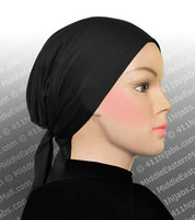 Set of 6 Underscarf Black Cotton Bonnet Hijab Caps with ties