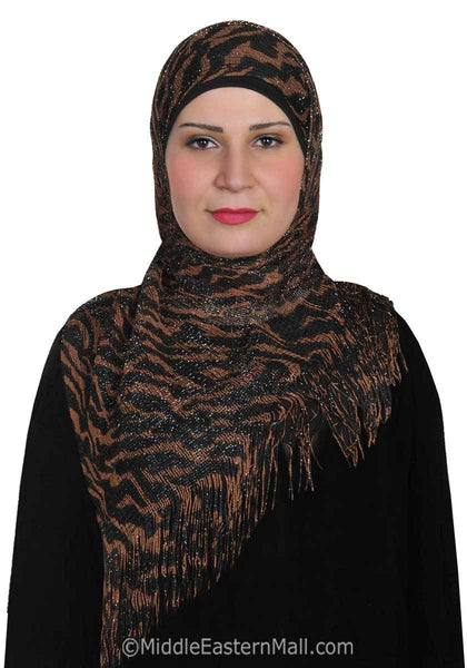 Brown Tiger Noor Shawl Hijabs