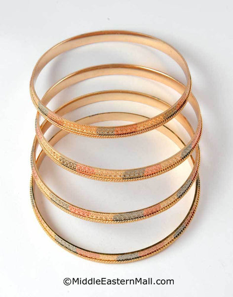 Tri-Color Bangle Bracelets Set of 4 Oro Laminado Gold Plated #1