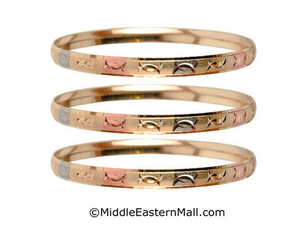 Tri-Color Bangle Bracelets Oro Laminado Set of 3 Gold Plated one year warranty #3 (7590)