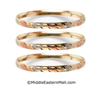 Tri-Color Bangle Bracelets Oro Laminado Set of 3 Gold Plated one year warranty #5 (7589)